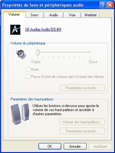 peripherique audio pour windows xp